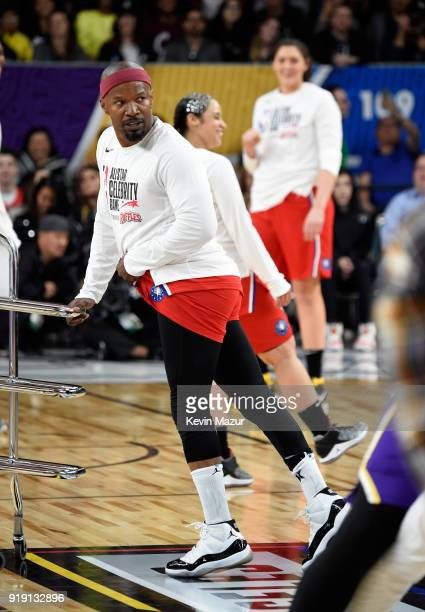 Actor/recording artist Jamie Foxx poses during the NBA AllStar Celebrity Game 2018 presented by Ruffles at Verizon Up Arena at LACC on February 16...