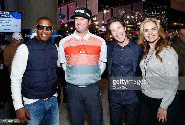 Actor/recording artist Jamie Foxx professional golfer Bubba Watson preacher Joel Osteen and Victoria Osteen attend SiriusXM at Super Bowl XLIX Radio...