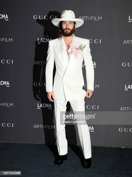 Actorrecording artist Jared Leto wearing Gucci attends 2018 LACMA Art Film Gala honoring Catherine Opie and Guillermo del Toro presented by Gucci at...
