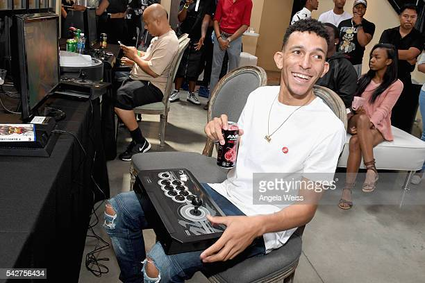 Actor/Recording artist Khleo Thomas enjoys an AMP beverage during Next Level Presented By AMP Energy A Hip Hop Gaming Tournament at Rostrum Records...