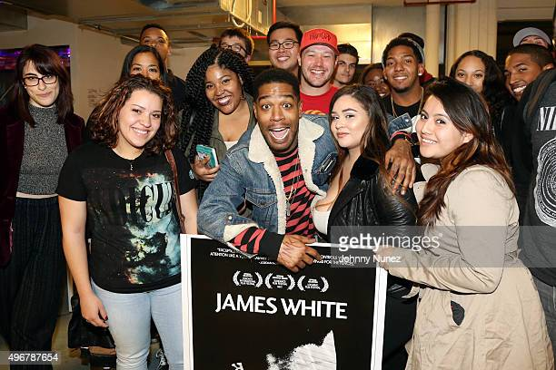 Actor/recording artist Kid Cudi poses with fans at the 'James White' New York Screening at IFP Made in NY Media Center on November 11 2015 in...