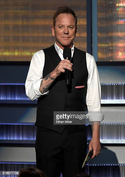 Actor/recording artist Kiefer Sutherland speaks onstage during the 51st Academy of Country Music Awards at MGM Grand Garden Arena on April 3 2016 in...