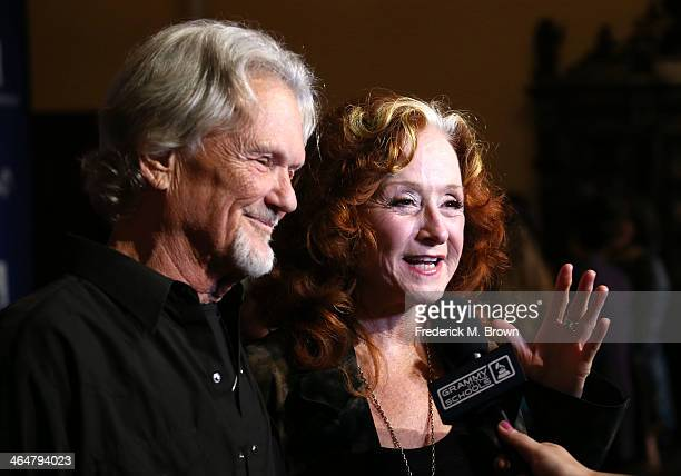 Actor/recording artist Kris Kristofferson and recording artist Bonnie Raitt attend the 56th GRAMMY Awards Foundation Legacy Concert at The Wilshire...