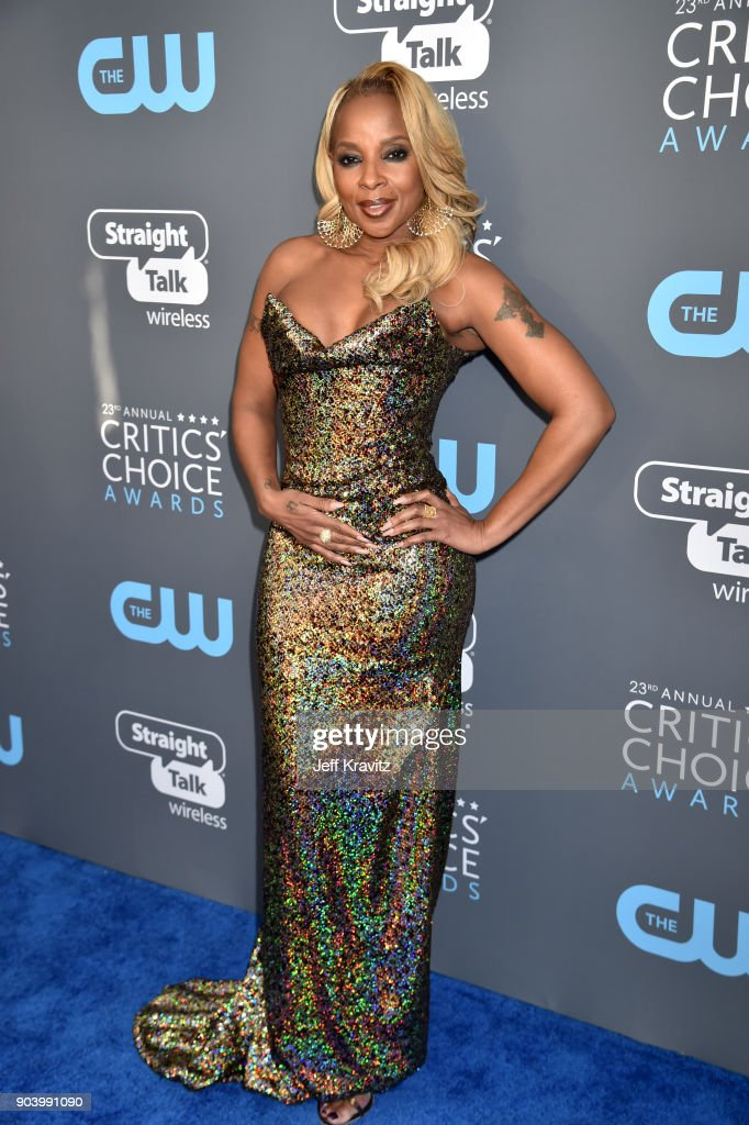 Actor/recording artist Mary J. Blige attends The 23rd Annual Critics' Choice Awards at Barker Hangar on January 11, 2018 in Santa Monica, California.