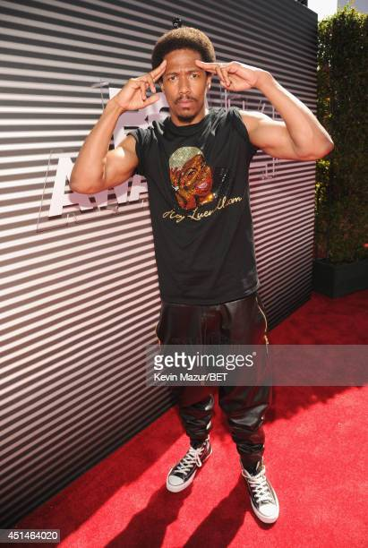 Actor/recording artist Nick Cannon attends the BET AWARDS '14 at Nokia Theatre LA LIVE on June 29 2014 in Los Angeles California