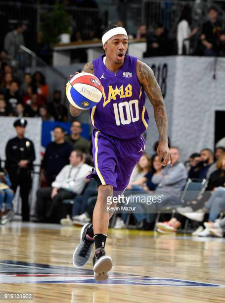 Actor/recording artist Nick Cannon plays during the NBA AllStar Celebrity Game 2018 presented by Ruffles at Verizon Up Arena at LACC on February 16...