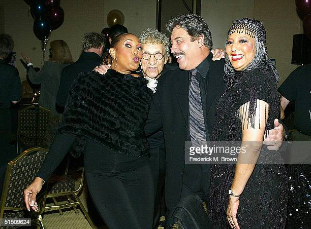 Actor/recording artist Telma Hopkins comedian Sammy Shore recording artists Tony Orlando and Joyce Vincent during reunited performance of Tony...
