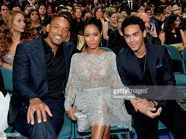 Actor/recording artist Will Smith actress Jada Pinkett Smith and Trey Smith attend the 16th Latin GRAMMY Awards at the MGM Grand Garden Arena on...