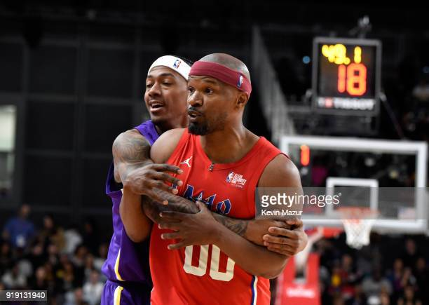 Actor/recording artists Nick Cannon and Jamie Foxx during the NBA AllStar Celebrity Game 2018 presented by Ruffles at Verizon Up Arena at LACC on...