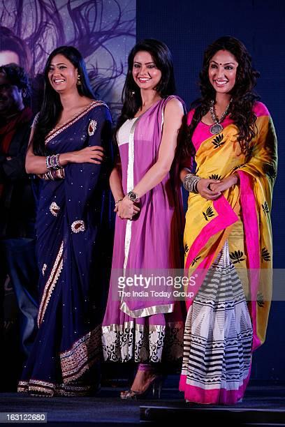 TV actors Aamna Sharif Mauli Ganguly and Shweta Tiwari during the launch of new tele series Ek Thi Naayka