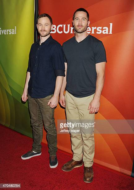 Actors Aaron Ashmore and Luke MacFarlane attend the 2015 NBCUniversal Summer Press Day held at the The Langham Huntington Hotel and Spa on April 02,...