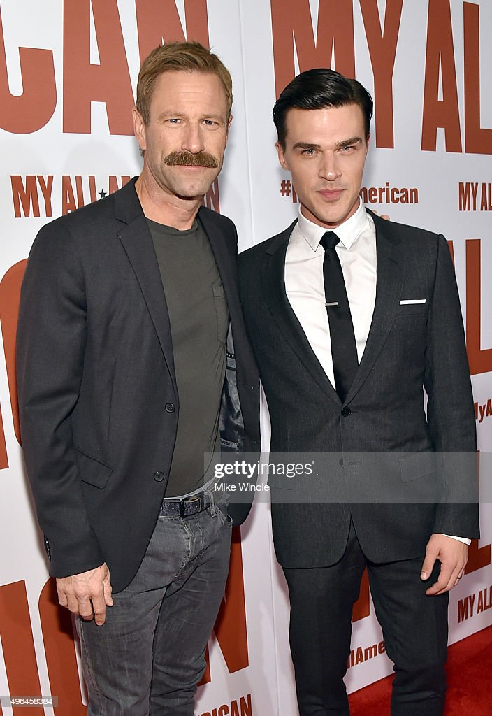 Actors Aaron Eckhart (L) and Finn Wittrock attend the premiere of Clarius Entertainment's 'My All American' at The Grove on November 9, 2015 in Los Angeles, California.