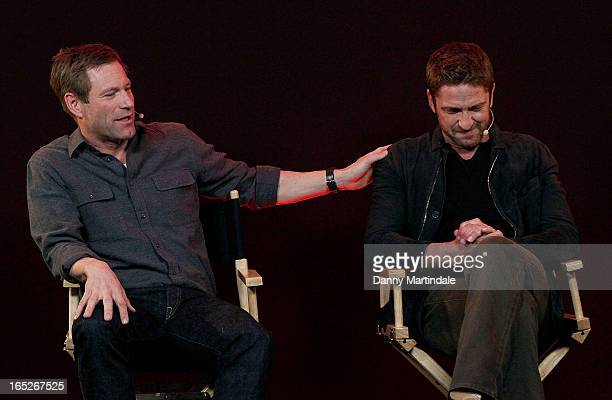 Actors Aaron Eckhart and Gerard Butler attend the Meet The Filmmakers event ahead of tomorrow's UK Premiere of 'Olympus Has Fallen' at Apple Store...