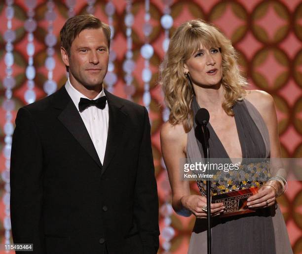 Actors Aaron Eckhart and Laura Dern onstage during VH1's 14th Annual Critics' Choice Awards held at the Santa Monica Civic Auditorium on January 8...