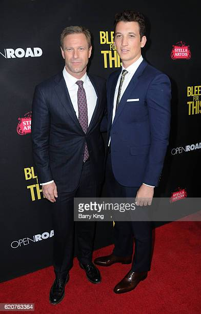 Actors Aaron Eckhart and Miles Teller arrive at the premiere of Open Road Films 'Bleed For this' at Samuel Goldwyn Theater on November 2 2016 in...