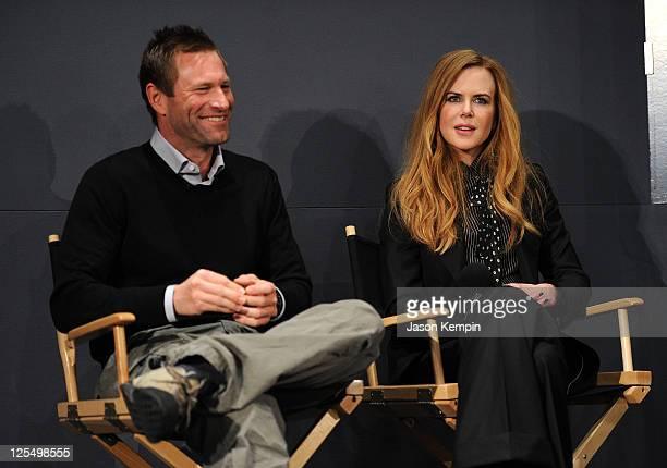 Actors Aaron Eckhart and Nicole Kidman discuss the new film 'Rabbit Hole' at the Apple Store Soho on December 3 2010 in New York City