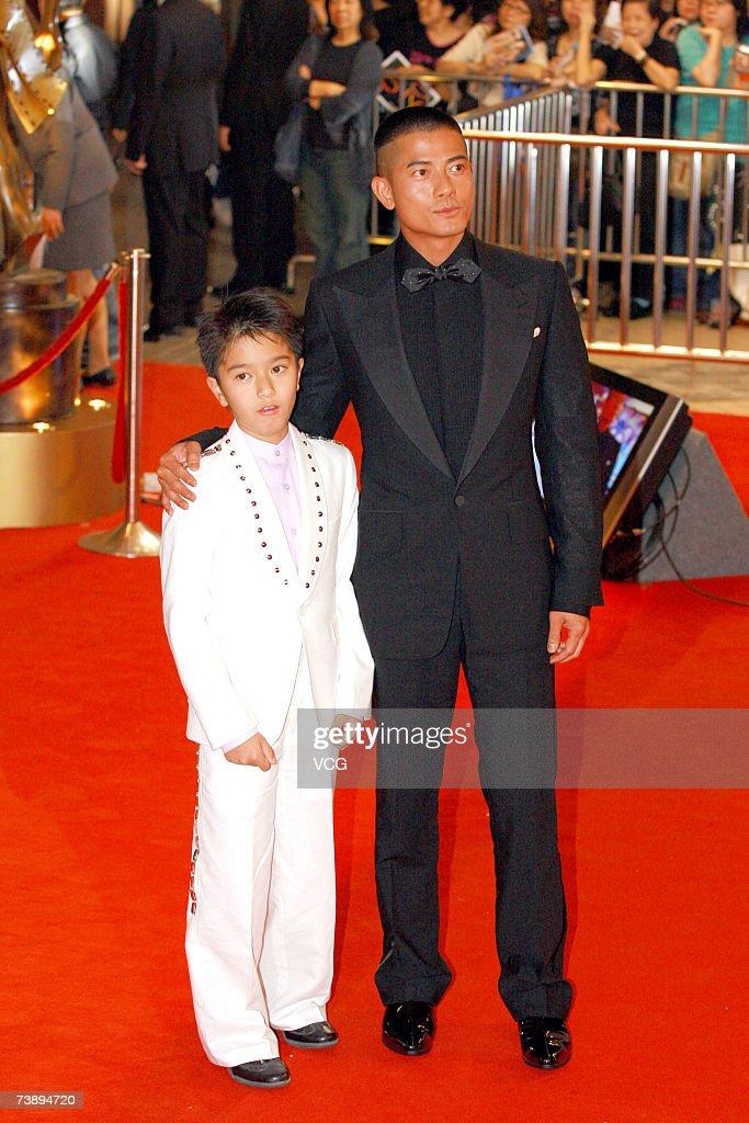Actors Aaron Kwok (R) and Wu Jingtao (L) arrive at the 26th Hong Kong Film Awards at the Hong Kong Cultural Centre on April 15, 2007 in Hong Kong, China.