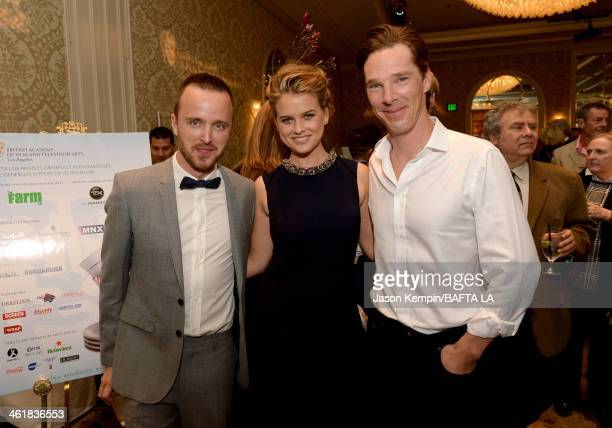 Actors Aaron Paul Alice Eve and Benedict Cumberbatch attend the BAFTA LA 2014 Awards Season Tea Party at the Four Seasons Hotel Los Angeles at...