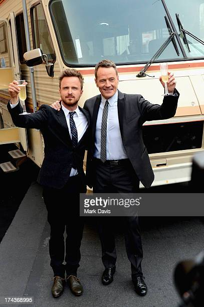 Actors Aaron Paul and Bryan Cranston arrive as AMC Celebrates the final episodes of 'Breaking Bad' at Sony Pictures Studios on July 24 2013 in Culver...