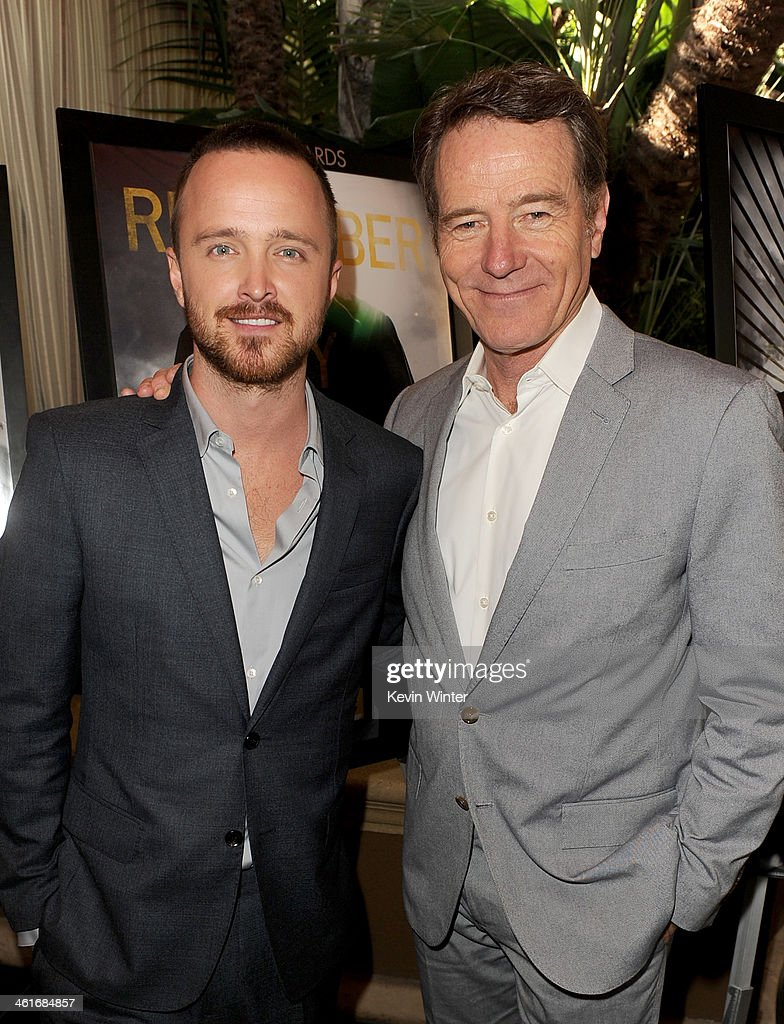 Actors Aaron Paul (L) and Bryan Cranston attend the 14th annual AFI Awards Luncheon at the Four Seasons Hotel Beverly Hills on January 10, 2014 in Beverly Hills, California.