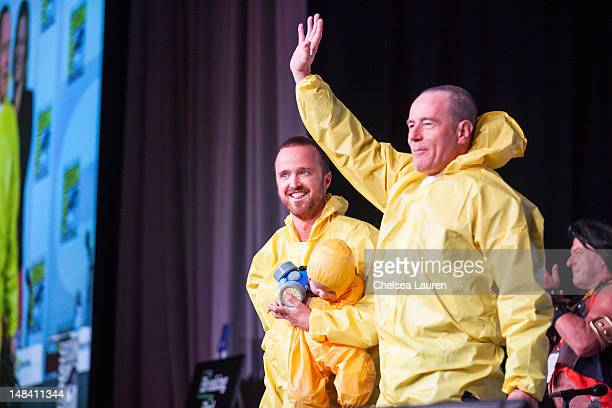 Actors Aaron Paul and Bryan Cranston attend the 'Breaking Bad' panel at Comic Con International at San Diego Convention Center on July 13 2012 in San...