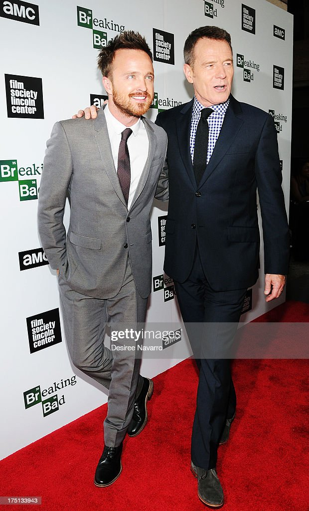 Actors Aaron Paul and Bryan Cranston attend The Film Society Of Lincoln Center And AMC Celebration Of 'Breaking Bad' Final Episodes at The Film Society of Lincoln Center, Walter Reade Theatre on July 31, 2013 in New York City.