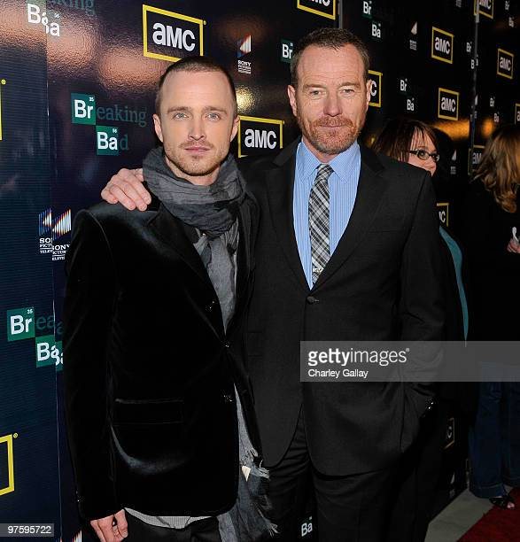 Actors Aaron Paul and Bryan Cranston attend the Season Three premiere of AMC and Sony Pictures Television's 'Breaking Bad' at the ArcLight Hollywood...