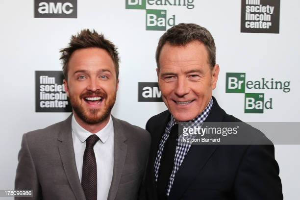 Actors Aaron Paul and Bryan Cranston attends The Film Society of Lincoln Center and AMC Celebration of 'Breaking Bad' Final Episodes at The Film...