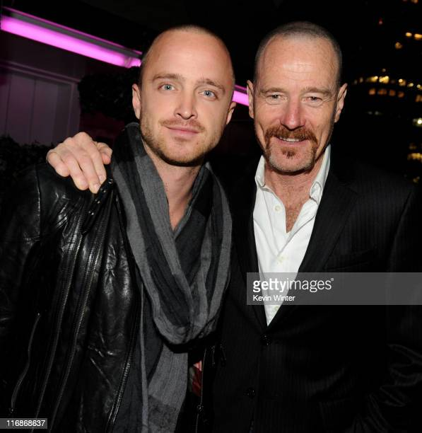 Actors Aaron Paul and Bryan Cranston pose at the after party for the Los Angeles Film Festival premiere of Drive at The Standard on June 17 2011 in...