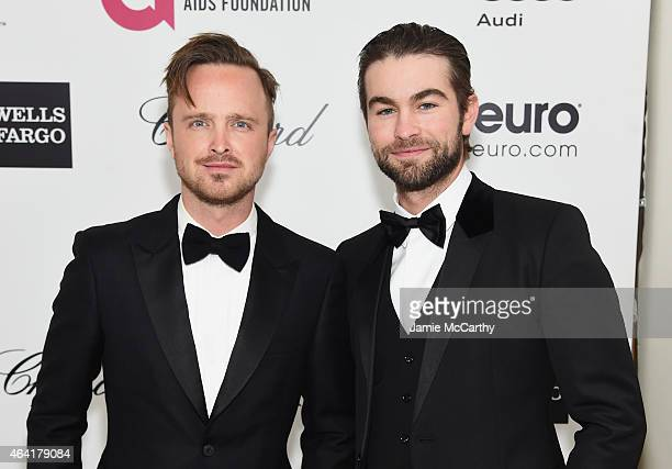 Actors Aaron Paul and Chace Crawford attend the 23rd Annual Elton John AIDS Foundation Academy Awards Viewing Party on February 22 2015 in Los...