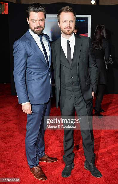 """Actors Aaron Paul and Dominic Cooper arrive for the premiere of DreamWorks Pictures' """"Need For Speed"""" at TCL Chinese Theatre on March 6, 2014 in..."""