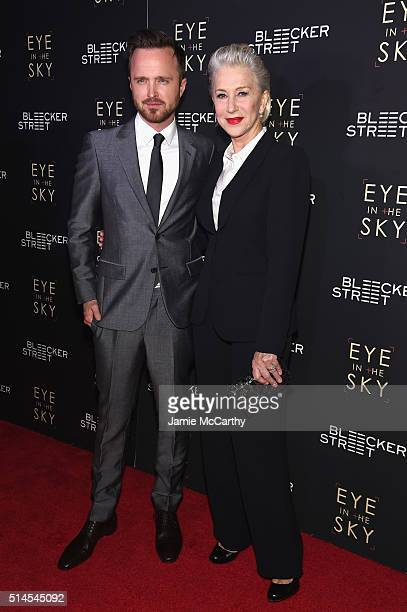 Actors Aaron Paul and Helen Mirren attend the Eye In The Sky New York Premiere at AMC Loews Lincoln Square 13 theater on March 9 2016 in New York City