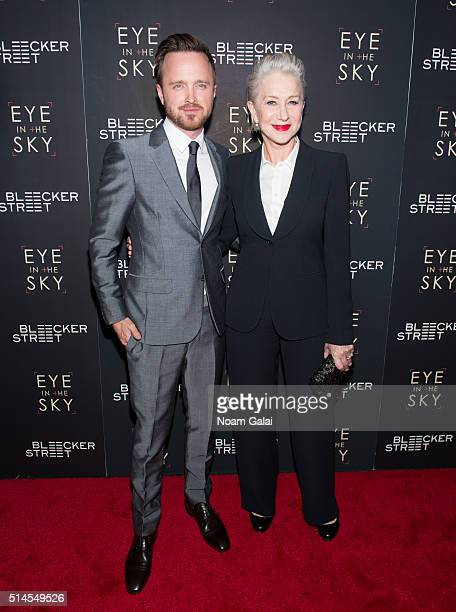 Actors Aaron Paul and Helen Mirren attend the 'Eye In The Sky' New York premiere at AMC Loews Lincoln Square 13 theater on March 9, 2016 in New York...