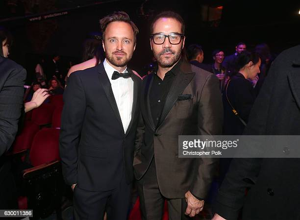Actors Aaron Paul and Jeremy Piven pose in the audience during the 21st Annual Huading Global Film Awards at The Theatre at Ace Hotel on December 15...