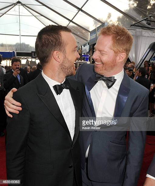 Actors Aaron Paul and Jesse Tyler Ferguson attend 20th Annual Screen Actors Guild Awards at The Shrine Auditorium on January 18 2014 in Los Angeles...