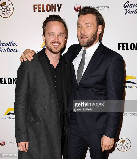 Actors Aaron Paul and Joel Edgerton attend the premiere of 'Felony' at Harmony Gold Theatre on October 16 2014 in Los Angeles California