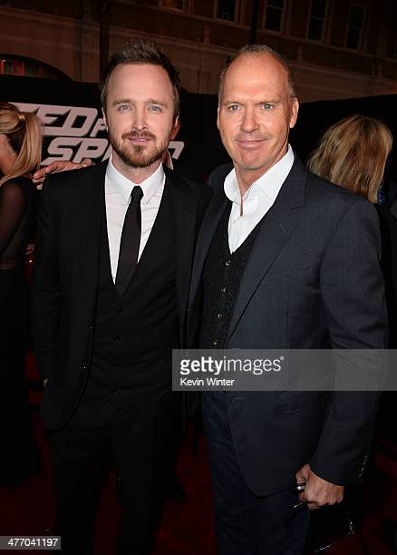 """Actors Aaron Paul and Michael Keaton arrive at the premiere of DreamWorks Pictures' """"Need For Speed"""" at TCL Chinese Theatre on March 6, 2014 in..."""