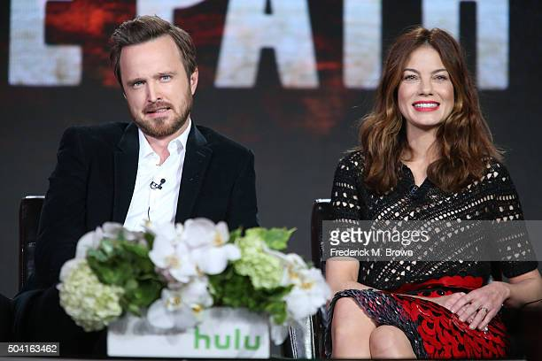 Actors Aaron Paul and Michelle Monaghan speak onstage during The Path panel as part of the hulu portion of the 2016 Television Critics Association...