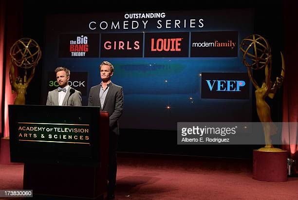 Actors Aaron Paul and Neil Patrick Harris announce the nominees for the Outstanding Comedy Series Award during the 65th Primetime Emmy Awards...