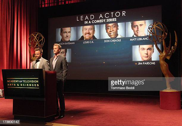 Actors Aaron Paul and Neil Patrick Harris announce the nominees for the Outstanding Lead Actor in a Comedy Series Award during the 65th Primetime...
