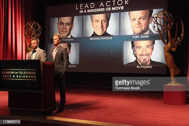 Actors Aaron Paul and Neil Patrick Harris announce the nominees for the Outstanding Lead Actor in a Miniseries or Movie Award during the 65th...