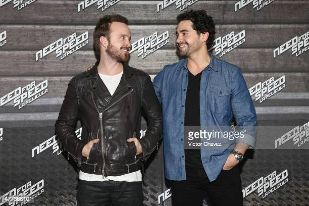 Actors Aaron Paul and Ramon Rodriguez attends a press junket and photocall to promote his new film 'Need For Speed' at Four Seasons Hotel on March 8...