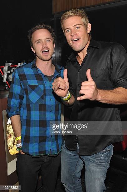 Actors Aaron Paul and Trevor Donovan attend the Fallout New Vegas launch event featuring Vampire Weekend at Rain Nightclub inside the Palms Casino...