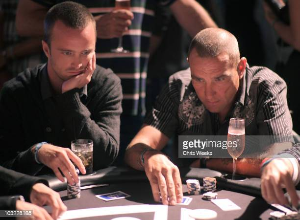 Actors Aaron Paul and Vinnie Jones attend 'A Night with Power Balance' at Drai's Hollywood on August 3 2010 in Hollywood California