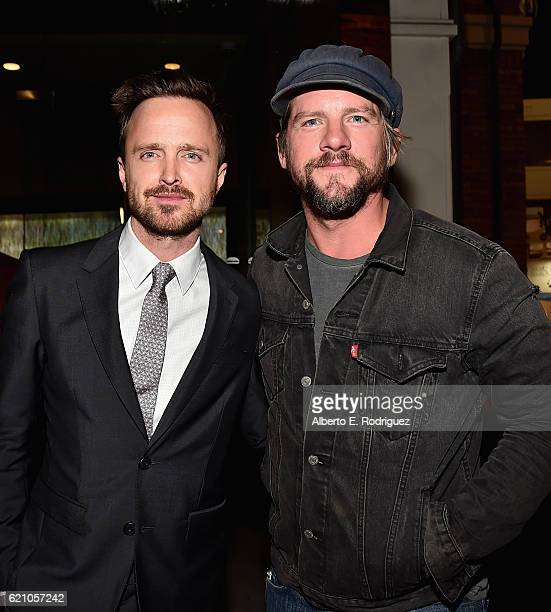 Actors Aaron Paul and Zachary Knighton attend the after party for the premiere of Saban Films' Come And Find Me at Umami Burger on November 3 2016 in...