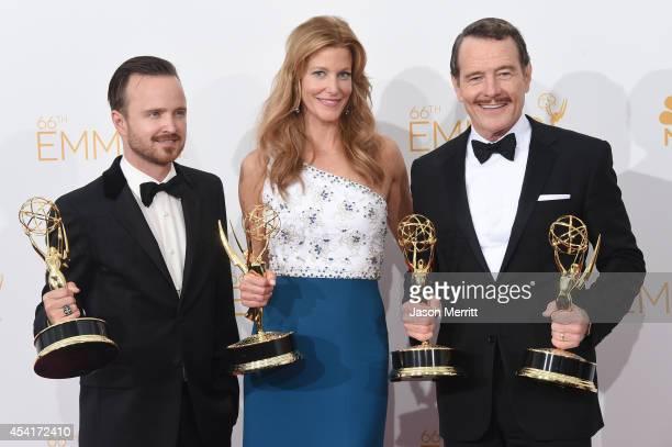 Actors Aaron Paul Anna Gunn andBryan Cranston winners of Outstanding Drama Series Award Outstanding Lead Actor in a Drama Series Award Outstanding...