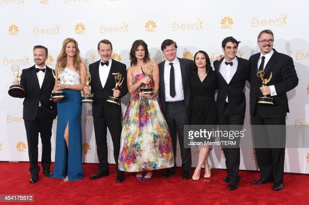 Actors Aaron Paul Anna Gunn Bryan Cranston Betsy Brandt Jesse Plemons Laura Fraser RJ Mitte and Show Creator Vince Gilligan winners of Outstanding...