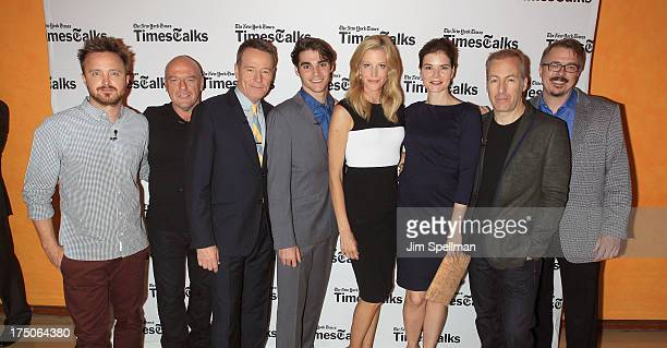 Actors Aaron Paul Dean Norris Bryan Cranston RJ Mitte Anna Gunn Betsy Brandt Bob Odenkirk and Breaking Bad creator Vince Gilligan attend An Evening...