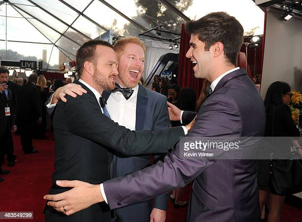 Actors Aaron Paul Jesse Tyler Ferguson and Justin Mikita attend 20th Annual Screen Actors Guild Awards at The Shrine Auditorium on January 18 2014 in...