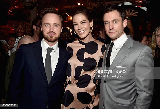 Actors Aaron Paul Michelle Monaghan and Hugh Dancy attend the after party for the premiere of Hulu's 'The Path' at ArcLight Hollywood on March 21...